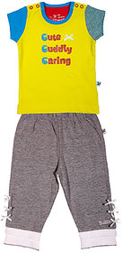 BUZZY Girl's Yellow Printed Combo Set (Top and Legging)