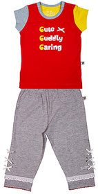 BUZZY Girl's Red Printed Combo Set (Top and Legging)