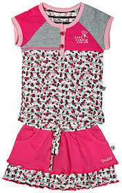 BUZZY Girl's Pink Printed Combo Set (Top and Legging)