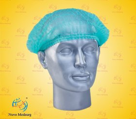 NUVO MEDSURG Disposable Bouffant Surgical Head Cap Pack Of 100 (Green)