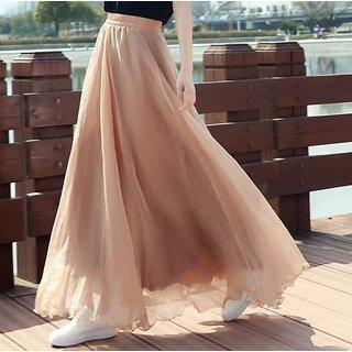 Raabta RWS-SKRT00 Beige Waist Elastic Skirt