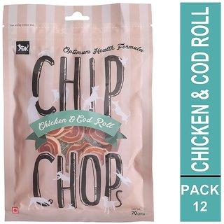 Chip Chops Dog Treat Chicken and Codfish Rolls, 840g, Optimum Health Formula (Pack of 12)