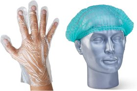 NUVO MEDSURG Disposable Green Bouffant Cap And Transparent Gloves - 200 Pcs (Pack Of 2)