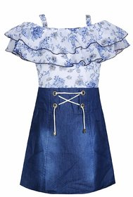 Clobay floral poncho style denim frock for girls