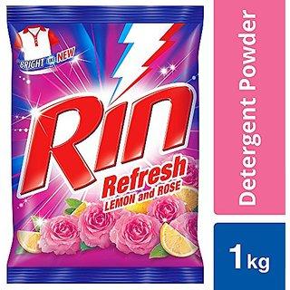 Rin Refresh Lemon & Rose Detergent Powder, 1 Kg( Pack of 2 )