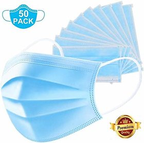 3Ply Surgical Mask(Pack Of 50) 3PLY-50 PCSSurgical Mask  (Blue, Pack of 50, 3 Ply)