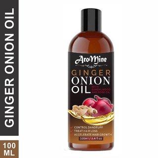 AroMine ONION  Ginger Oil With Sandalwood  Rose Oil Extract-100ml Hair Oil (100 ml)