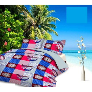 Kayplus Designs Double bed polycotton 3D printed Bedsheet Size 90 Inches x 90 Inches(228 cm x 228cm) With 2 Pillow Cover