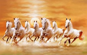 Style UR Home - Vastu Seven Horse Painting with Rising Sun Right to left -12x 18