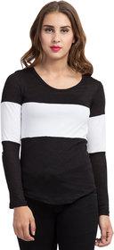 Color Block Women Round Neck Black T-Shirt 5249Black