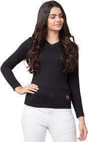 Solid Women V Neck Black T-Shirt 5252Black
