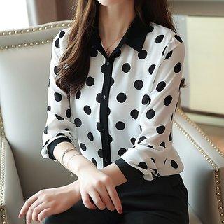 Shivalaya RWT-01013 White Shirt With Black Dot Top