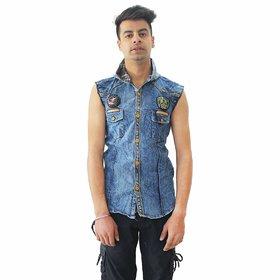 Matelco Men's Denim Slim Fit Sleeveless Hooded Shirt