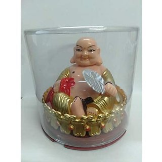 Solar Laughing Buddha (Gold) for Home Decor Wealth and Goodluck
