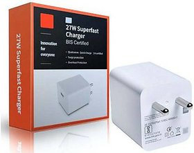 M-I 27W Superfast Mobile Charger With Micro Charging Cable 3 A Mobile Charger with Detachable Cable
