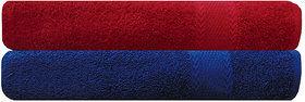 Akin Royal Red  Blue Cotton Bath Towel - Set Of 2