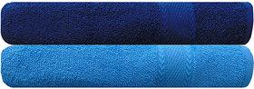 Akin Royal Blue  Sky Blue Cotton Bath Towel - Set Of 2