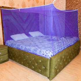 LooMantha HDPE-High Density Poly Ethylene Adults  Double Bed Mosquito Net(Blue)
