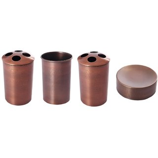 AH Bathroom Set Copper Finish 4 Pieces - 2 Toothbrush Holder, 1 Tumbler  1 Soap Dish Bathroom Accessories Set