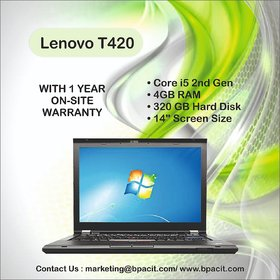 Refurbished Lenovo L420/T420 Intel Core i5 2nd Gen 4  GB RAM/320 GB Hdd and Carry Bag with 1 Year Seller Warranty