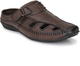 El Paso Men's Brown Slip On Back Open Sandals
