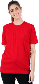 Stoovs, Women Cotton T-Shirt, Bold Red Solid Half Sleeve T-shirt
