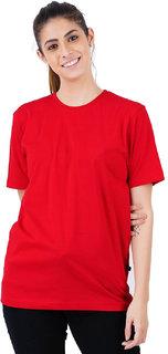 Stoovs Women Cotton Plain 100% Cotton Red T-Shirt