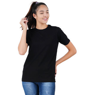 Stoovs, Women Cotton T-Shirt, Jet Black Solid Half Sleeve T-shirt