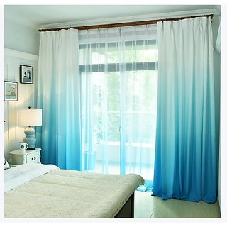 Style UR Home -Premium Shaded - Gradient - Polyester Satin- Blackout - 7 Ft x 4 Ft-Eyelet Curtain - 2 pcs