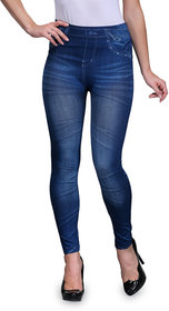 Enaa Fashion Women's Poly Cotton Casual Denim Look Stretchable Jeggings (Free Size 28-34 Waist) - Set of 1