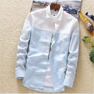 Fashlook Men White Block Sky Blue Slim Fit Casual Shirt