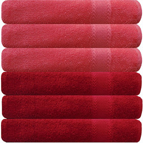 Akin Peach  Red Cotton Hand Towels Set Of 6