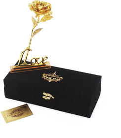 JEWEL FUEL 24k Gold Rose And Love Stand With Velvet Gift Box