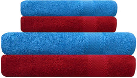 Akin Red  Sky Blue Cotton Towels - Set Of 4 ( Bath Towels - 2 Hand Towels - 2)