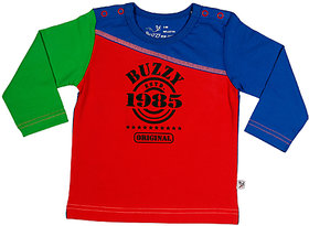 Buzzy Boy's Red Round Neck Full-Sleeves Cotton T-shirt