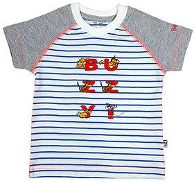 Buzzy Boy's White Round Neck Cotton T-shirt