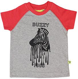 Buzzy Boy's Grey Round Neck Cotton T-shirt