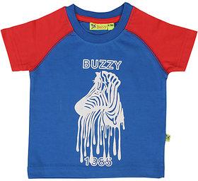 Buzzy Boy's Blue Round Neck Cotton T-shirt