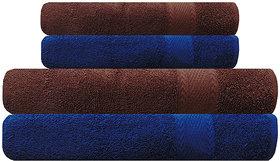 Akin Blue  Brown Cotton Towels - Set Of 4 ( Bath Towels - 2, Hand Towels - 2)