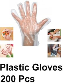 Axtry 200Pcs Disposable Plastic Hand Gloves, Polythene Gloves, For Kitchen, Cooking, House Cleaning, Hair Coloring, Food