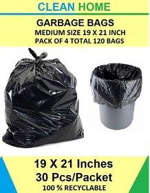 Clean Home - Dustbin Bags Black  4 Packs (30 Bags in Each Pack) Total 120 Bags  48 x 54 cm  Disposable Garbage Bags