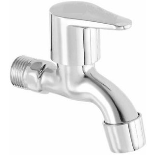 ZESTA Stainless Steel Brass Disc Flora Bib Cock Tap with Flange (Standard Silver) - Pack of 1
