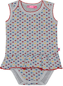 BUZZY Girl's Printed Cotton Dress with Romber