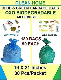 Clean Home- OXO Biodegradable Garbage Bags 6 Packs Total 180 Bags Medium Size  (19 X 21 inch) Blue Green Dustbin Bags