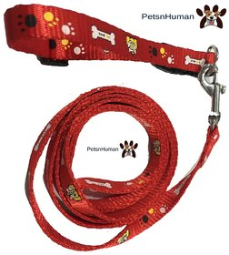 1/2 Inch Printed Collar Leash (Color Red)