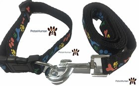 3/4 Inch Printed Collar Leash (Color Black)