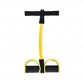 ZEVORA Ab Builder and Tummy Trimmer Ab Pull Exerciser Resistance Tube Ab Exerciser  Yellow Black