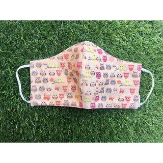 Just for kix Owl Theme  Conical Face Covering Reusable Washable Protective Face Mask with a Pocket and Nose Wire