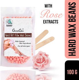 GutarGoo Painless Brazilian Hair Removal Hard Film Hot Wax Beans with free spatula (100g, Soothing Pink)