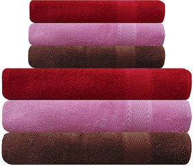 Akin Pink, Red  Brown Cotton Towels - Set Of 6 ( Bath Towels - 3, Hand Towels - 3)